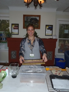 Making paper during an EcoHouse open house