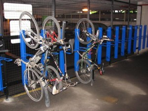 One of the many secure bike parking facilities in Hamilton