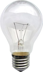 An incandescent lightbulb.